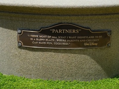 Inscription below the bronze statue of Walt and Mickey